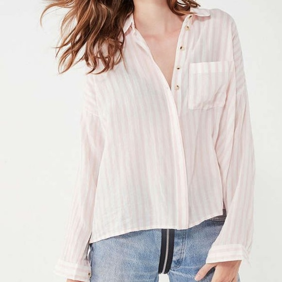 124ae16c Urban Outfitters Tops | Nwot Bdg Striped Twill Buttondown Shirt ...